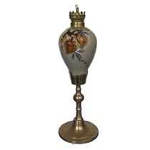 Đèn dầu thờ đắp nổi trúc đào - chân đồng - men rạn nổi - cao 37 cm