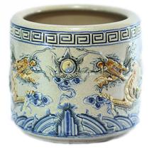 Bát hương Rồng nổi - men rạn cổ  - đường kính 35 - cao 32 cm