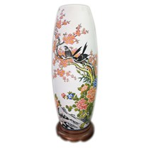 Đèn sứ thấu quang - vẽ hoa đào - cao 62cm