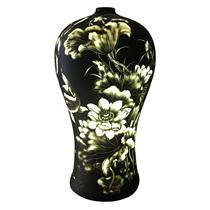 Đèn gốm BATO để bàn khắc sen cá - cao 67cm