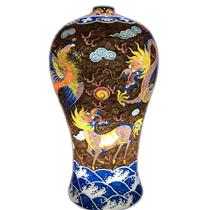 Đèn gốm BATO trang trí để bàn vẽ tứ linh - cao 67cm