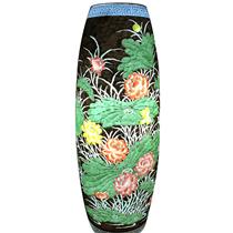 Đèn gốm BATO trang trí để bàn khắc hoa sen - cao 62cm