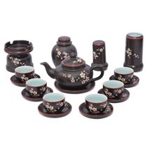 Bộ ấm trà kim quy khắc hoa mai - đầy đủ phụ kiện