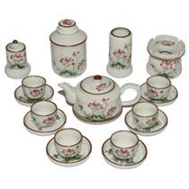 Bộ pha trà hướng thiện - vẽ hoa sen - đầy đủ phụ kiện