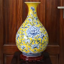 Tỳ bà vẽ hoa dây - nền vàng - cao 53cm