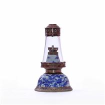 Đèn dầu thờ 2 chức năng - men lam cổ  - cao 21 cm