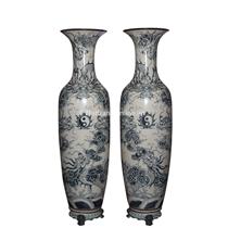 Lọ Lộc Bình Ngũ Long Chầu Nguyệt - men rạn cổ - cao 1m75