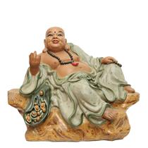 Tượng Di lặc ngồi bệ đá - men rạn - cao 65cm