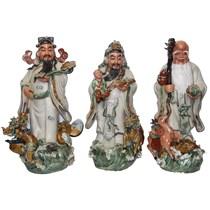 Tượng Phúc Lộc Thọ - men rạn cổ -  cao 70 cm