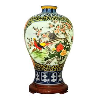 Đèn sứ thấu vẽ chim trĩ hoa mẫu đơn - cao 58cm